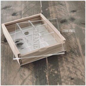 Opbergdoos met plexi deksel, opbergdoos met deksel, doos voor herinneringen, houten kralen doos, juwelenkistje, bedrukte houten doos, opbergdoos bedrukt, houten doosje bedrukt, houten doos met schuifdeksel bedrukt